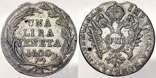UNA LIRA VENETA 1800 FRANCESCO II PROVINCIA VENETA VENETIAN PROVINCE #2712
