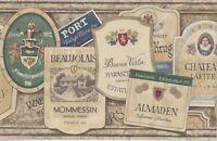 International Wine Labels on a Beige Stone Wallpaper Border NRB5180B