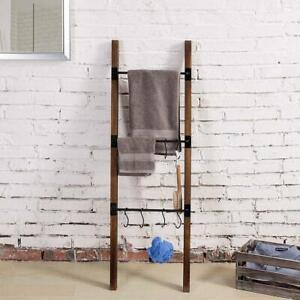 Burnt Wood Metal Wall-Leaning Ladder Towel Holder, Blanket Storage Rack w/ Hooks