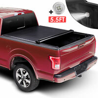5.5 FT Bed Roll Up Soft Tonneau Cover For 09-20 Ford F-150 Truck & Lamp On Top