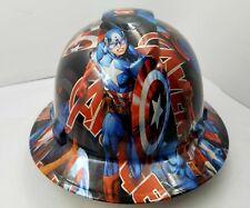 FULL BRIM Hard Hat custom hydro dipped CAPT AMERICA AVENGERS  SUPER HERO NEW