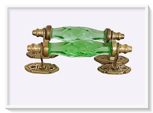 "Pair Vntg  Look Brass Victorian Green Cut Glass  Pull Push Door Drawer Handle 4"""
