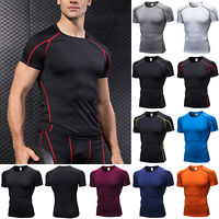 Men's Short Sleeve Gym Sport T Shirt Fitness Workout Compression Tops Activewear