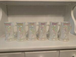 Vint Fenton Federal Iridescent Carnival White Steins Tavern Scene Mugs Set of 6