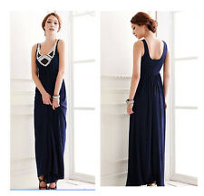 WOMAN LADIES SUMMER BEACH EVENING PARTY BLUE MAXI DRESSES B0168