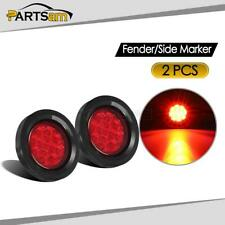 "2x 2.5"" Round Side Marker Clearance Light Waterproof Car Trailer Truck 12V Red"