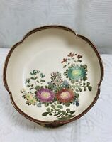 Vintage Satsuma Scallop Rimmed Bowl Japanese Hand Painted Floral Gilt Accents .