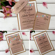 Vintage Wedding Invitations & Evening Invites Personalised - Bunting Kraft