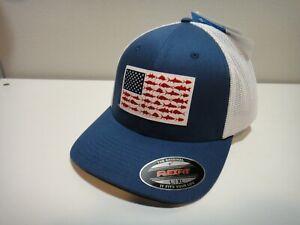 Columbia PFG Unisex FlexFit Mesh Ball Cap Hat Fishing Flag L/XL Red White Blue
