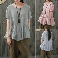 ZANZEA 8-24 Women Summer Short Sleeve Flare Peplum Top Tee T Shirt Stripe Blouse