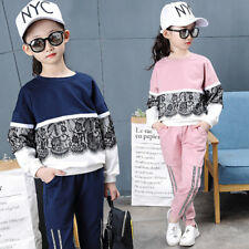 Girls Sports Suit Winter Spring Kids Sport Outfits For Girl Lace Teenage Clothes