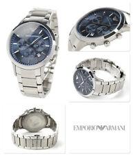 Genuine Emporio Armani Mens AR2448 Watch Blue Dial Stainless Steel UK