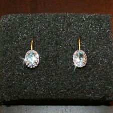 2 Carats Aquamarine Tiny Diamond Leverback Earrings 14k Yellow Gold over Base