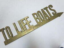 "Authentic vintage antique brass metal Penco "" To Life Boats"" original sign old"