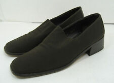"""Women's Donald J Pliner Brown Fabric Loafers Size 7 1/2 N 1 1/2"""" Heel Shoes Nice"""