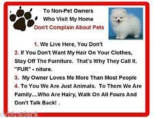 Funny Dog Pomeranian  House Rules Refrigerator / Magnet Gift Card Insert