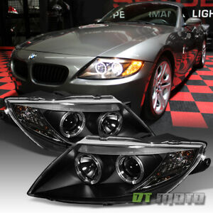 Black 2003-2008 BMW Z4 Dual LED Halo Projector Headlights Light Lamps Left+Right