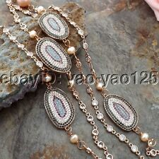 "K061204 40"" Pink Keshi Pearl Crystal CZ Pave Connector Chain Necklace"