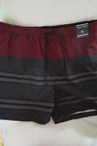 Nautica Men Swimming Shorts Size XL Adjustable Waist Striped Black/Burgundy New