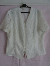 "True vintage ""Intimo"" ladies blouse size 12 in cream with lace (made in the UK)"