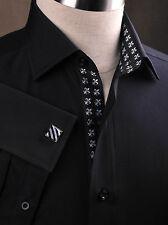 Fine Black Poplin Formal Dinner Shirt White Boss Lily Flower Silk-Like Fashion