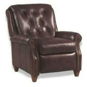 LEATHER RECLINER CHAIR  WOOD/TOP GRAIN LEATHER BUTTON BACK  HAND-CRAFTED USA