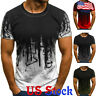 Men Print Tee Tops Summer Muscle Slim Fit T-shirt Gym Casual Short Sleeve Blouse