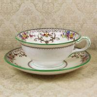 Vintage Minton Shaftesbury Embossed Floral Green Trimmed Teacup and Saucer