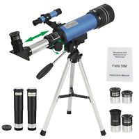 70mm Aperture Astronomical Refractor Travel Scope W/ Moon Mirror & Finder Scope