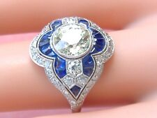 Estate Art Deco 1.78ct Euro Diamond Sapphire Cocktail Engagement Right-Hand Ring