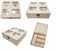 Vintage Shabby Chic Wooden Sewing Box Caddy Love Heart Design Decoration