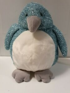RUSS BERRIE PENGUIN Blue glitter 'Chills'  soft toy plush 33cm high