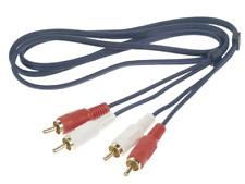 Câble 2 RCA Mâle vers 2 RCA Mâle Longueur 2,5 Métres Fiches Surmoulées Dorées