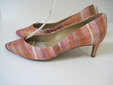 Vaneli Pink Red Striped Leather Classic Pump Low Kitten Heel Size 4 1/2 M  NEW!