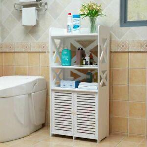 Wooden Bathroom 3 Tier 2 Doors Cabinet Shelf Cupboard White Bedroom Storage Unit