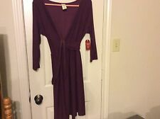 New Faded Glory purple M 8-10 poly spandex 3/4 sleeve wrap tie dress