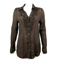CHRISTOPHER & BANKS Solid All Brown Button Down Long Sleeve Blouse Size M Medium