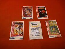 Sonic the Hedgehog Sega Game Gear Genesis 5 Tip Card Lot RARE Chaos 3 & Knuckles