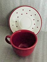 Red Coffee Cup & Red Polka Dots Saucer Set A Special Place 2004 FREE SHIPPING