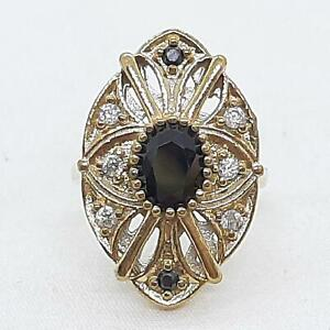 Deco 1.50ctw Spinel & Diamond Cut White Sapphire 14K Yellow Gold 925 Silver Ring