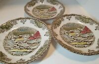 """3 """"The Ice House The Friendly Village"""" Small Plate Made in England Johnson Bros."""