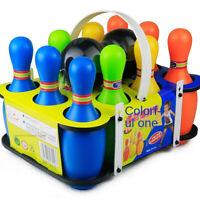 Kegelspiel Kinder Bowling Ball Set mit 10 Kegel und 2 Bälle Drinnen Draußen