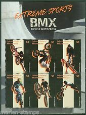 MICRONESIA  2015  EXTREME SPORTS  BMX MOTORCYCLES SHEET OF SIX  MINT NH