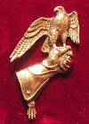 Pewter Small Hawk Gauntlet Falconry Brooch Pin  Quality