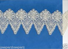 "Rayon VENICE Lace Floral Points Edge Trim ECRU BTY 4.5"" wide Bridal/ Formal NEW"