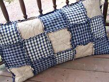 Blue Homespun Rag Quilt Standard Pillow Sham Country Primitive Handmade in Nj