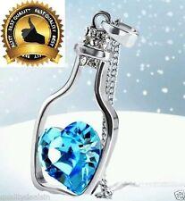 Blue Women's Crystal Love Heart Drift Bottle Pendant Necklace Gift :)