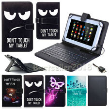 """US For Insignia 7"""" 8"""" 10.1"""" Android Tablet Leather Micro USB Keyboard Case Cover"""