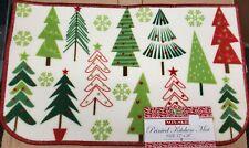 "PRINTED NYLON RUG,17""x28"", WINTER,CHRISTMAS TREES & GREEN SNOWFLAKES, D shape,BH"