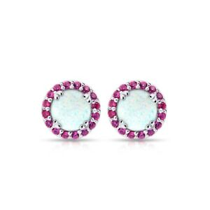 Round Halo Simulated Opal & Ruby Stud Earrings in Sterling Silver